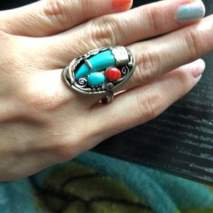 🌙🌟Turquoise silver ring